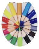 WENKO 21367100 WC-Sitz Hochglanz Acryl Buntstifte - mit Easy-Close Absenkautomatik, Kunststoff - Acryl, 38 x 45 cm, Mehrfarbig